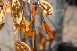 Metallic rose gold leaves Branch