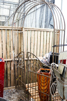 Metal arbor, round top, with gate, elegant