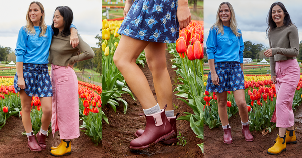 Rain boots and spring flowers