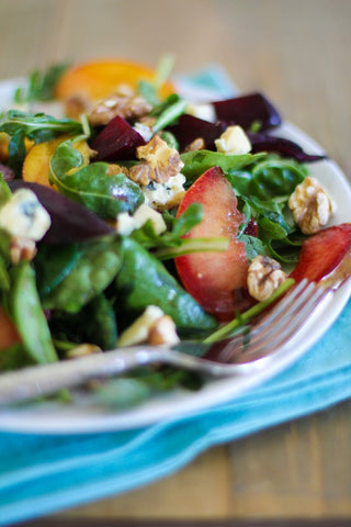 roasted beet and peach salad from the roasted root