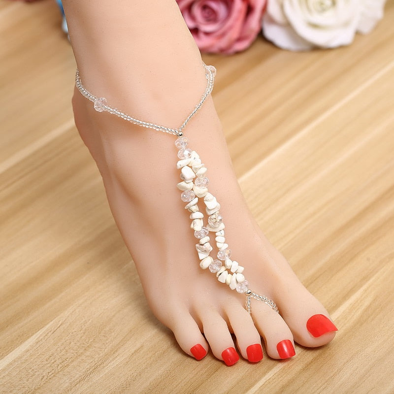ZOSHI Sexy Summer Beach Charms Anklets For Women Lovely White Stone Beads Ankle Bracelets Barefoot Sandals Foot Chain Jewelry