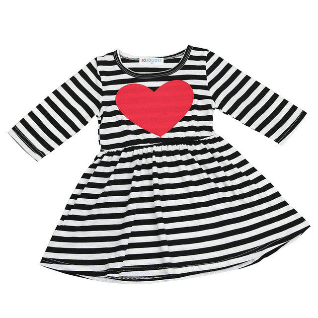 A line baby girls dress Long sleeve princess dress with white black stripe Cotton material baby girls dress with heart pattern