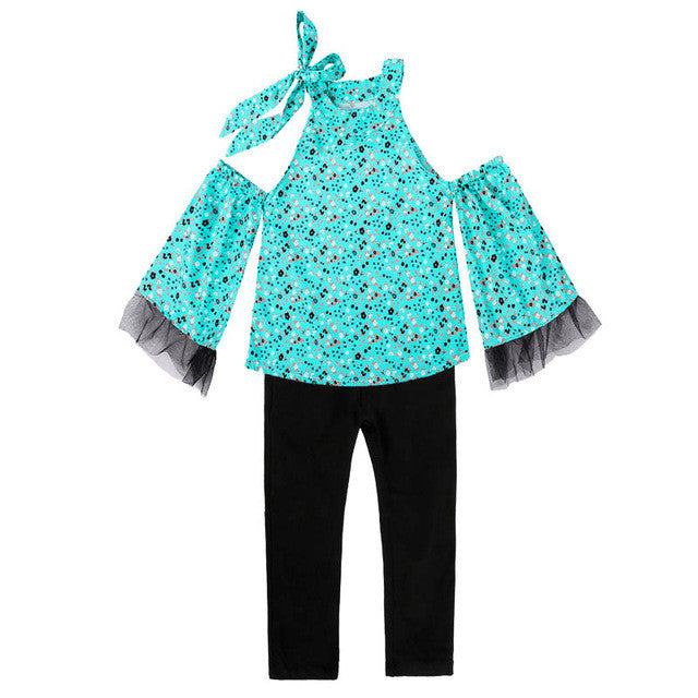 2017 Summer Girls Clothing Sets Baby Teenage Kids Ruffles Off Shoulder Short Sleeve Print Shirt+Long Pant 2Pc Kids Suit