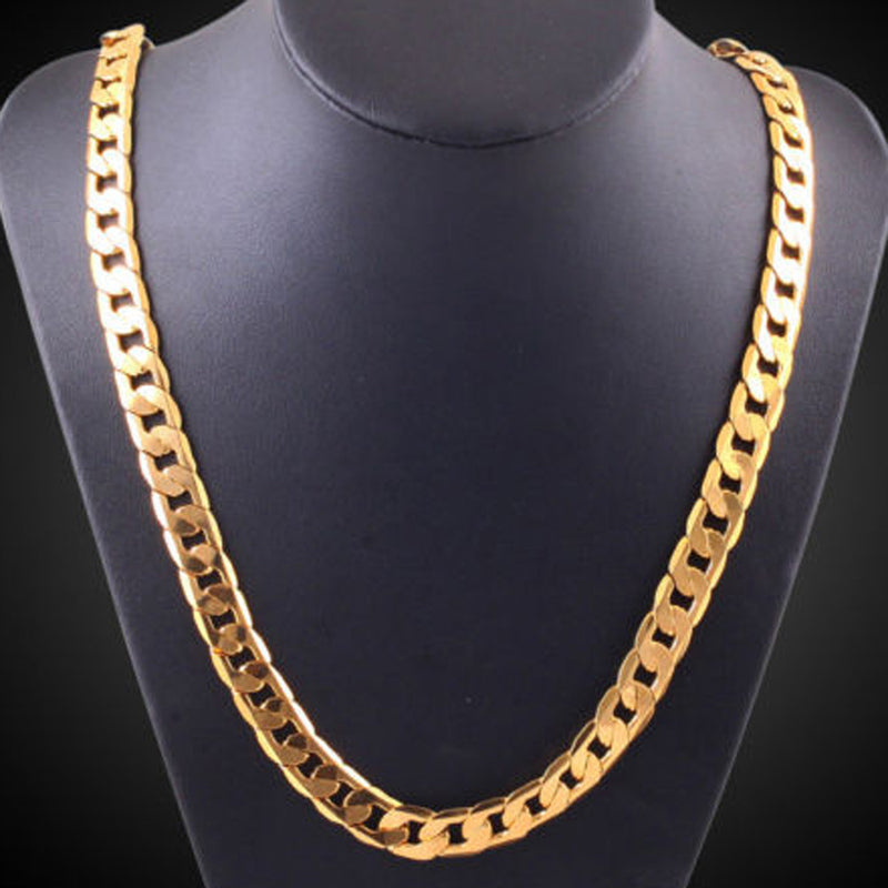 Men Women Fashion Luxury Filled Curb Cuban Link Gold Necklace Jewelry Chain