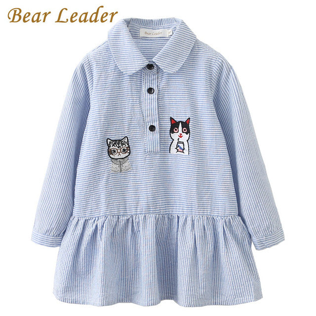 Bear Leader Girls Dress 2018 Fashion Shirts Dresses Long Sleeve Blue Striped Embroidery Trun-down Collar Design for Kids Dresses