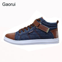 Load image into Gallery viewer, 2017 spring autumn men's leisure fashion Board high shoes breathable canvas England style buckel patchwork mix-color flats