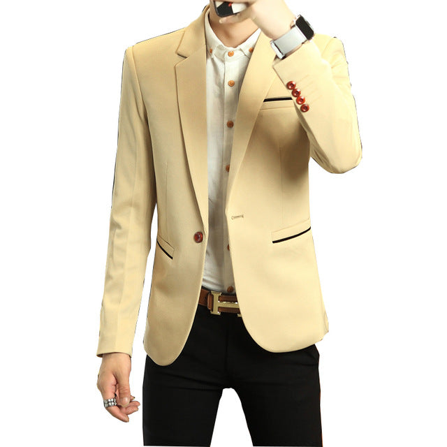 2018 New Spring Men's Suit coats Korean Slits Single West Slim Youth Leisure male coat Non Ironing Treatment Thickening Hot sale