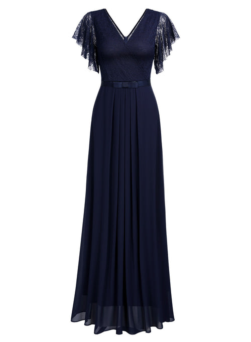 Deep- V Neck Vintage Wedding Maxi Dress
