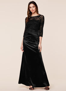 Retro Floral Lace Slim Ruched Wedding Maxi Dress