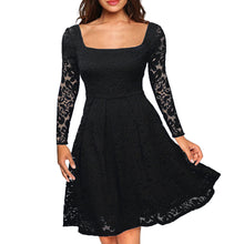 Load image into Gallery viewer, Women Floral Lace Dress Long Sleeves Slash Neck A-Line Side Zipper Plus Size Evening Wedding Party Dress