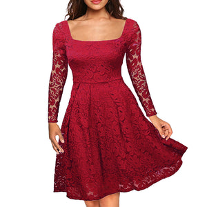 Women Floral Lace Dress Long Sleeves Slash Neck A-Line Side Zipper Plus Size Evening Wedding Party Dress
