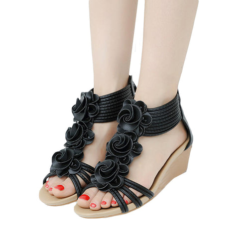 Fashion Women Sandals Summer Shoes Flower Wedges Girl Roman Sandals