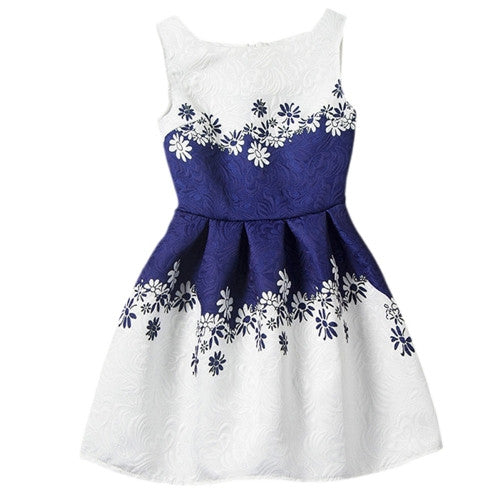 Girls Dress Flowers Print Princess Dresses Summer Baby Kids Girls Designer Formal Party Dress Clothes