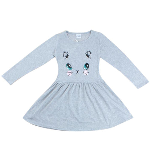Fashion Princess Girls Dress Cartoon Cat Printed Cotton Baby Girl Long Sleeve Dress Party Mini Dresses