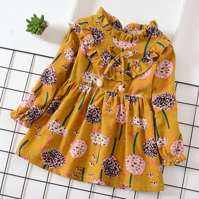 Casual Autumn children girls dress  new little girl floral printed dress