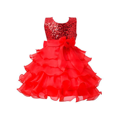 Vestido New Summer Fashion Sleeveless Girls Dress Girl Lolita Solid Tutu Princess Party  Layered Dress  Kids Dresses