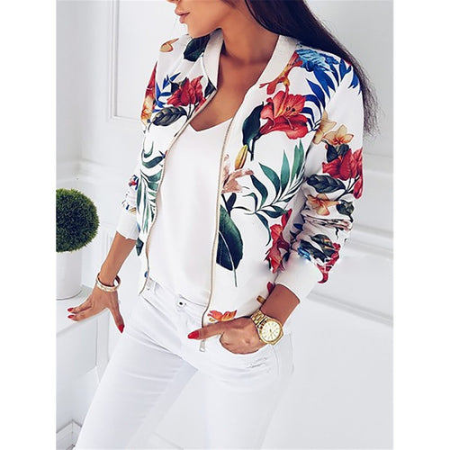 malianna Women Coat Fashion Ladies Retro Floral Zipper Up Bomber Jacket Casual Coat Autumn Outwear Women Clothes