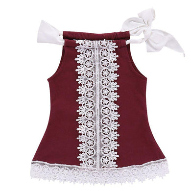 WEIXINBUY Dress Children Cotton Red Solid Lace Dress High Quality Kids Girls Dress