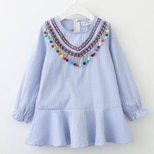 Load image into Gallery viewer, Bear Leader Girls Dress 2018 Fashion Shirts Dresses Long Sleeve Blue Striped Embroidery Trun-down Collar Design for Kids Dresses