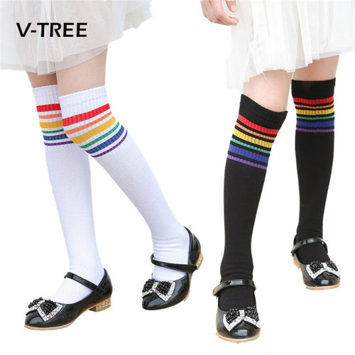 J&D 2018 Girls Socks Cotton Baby Kids Knee Length Long Children Sock For Girl Toddler Clothing Accessories 2-10 Years