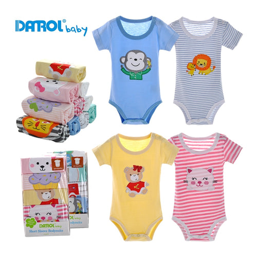 3M-24M 5pcs/lot Summer Baby Boy Clothes Short Sleeve Cotton Baby Bodysuit Infant Newborn Baby Girl Clothes Kids Clothing DR0142
