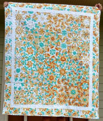 One block wonder OBW flower modern wall hanging baby or lap quilt
