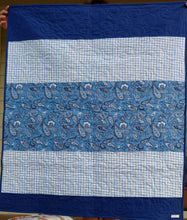 Load image into Gallery viewer, Blue and white sampler baby quilt