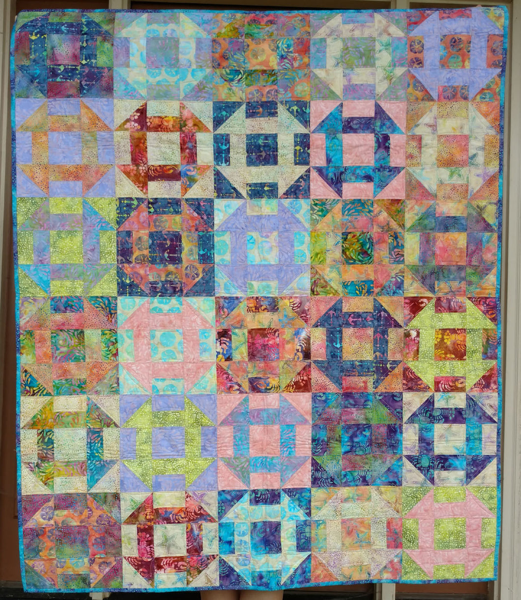 Churn dash batik baby quilt wall hanging pastel beach