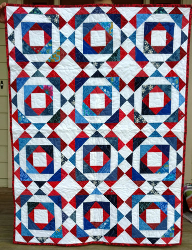 Patriotic red white and blue lap baby quilt