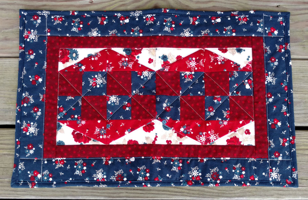 Patriotic red white and blue table topper