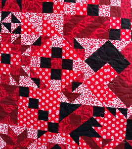 Red and Black Modern lap quilt
