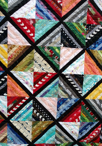 Scrappy Strings modern lap quilt