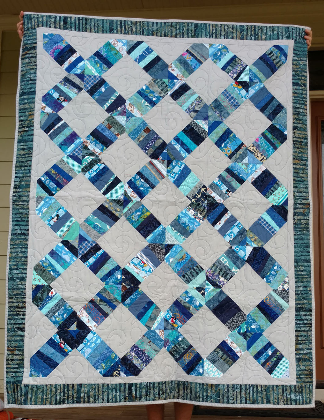 Blue String quilt and grey lap quilt