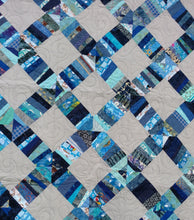 Load image into Gallery viewer, Blue String quilt and grey lap quilt