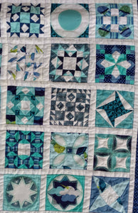 Women of the bible wallhanging quilt blue and white