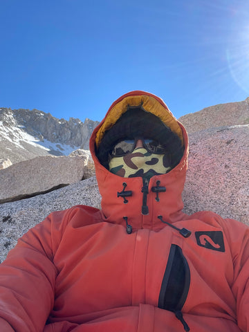 Bundled up on top of mount whitney