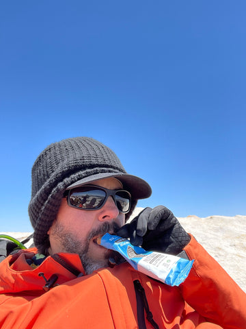 Refueling with super pop snacks at top of mount whitney