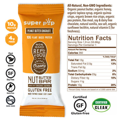Peanut Butter Chocolate- 12 pack<br /> Real food, non-gmo snacks, keto friendly.