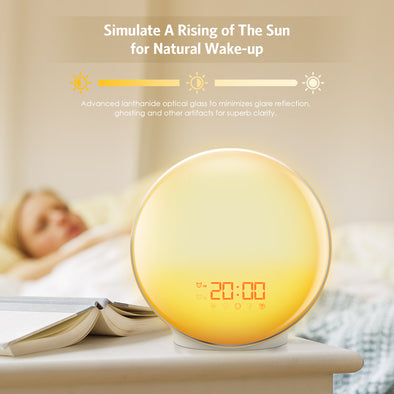 AMIR (2019 New) Wake-Up Light, Sunrise Alarm Clock, 7 Colors Mood Atmosphere Lamp, Beside Night Light, Digital Clock, FM Radio, 7 Natural Sounds, Dual Alarms, Sunrise/Sunset Simulation for Bedroom