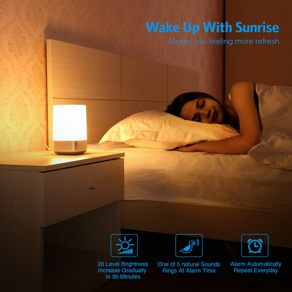 Product Name:  AMIR Wake-Up Light Beside Lamp Alarm Clock with Sunrise Simulation, 5 Natural Sounds, Rechargeable, Touch Sensor Multicolor Dimmable Night Light, Simple Design and Healthy Style (Non-Plug in)