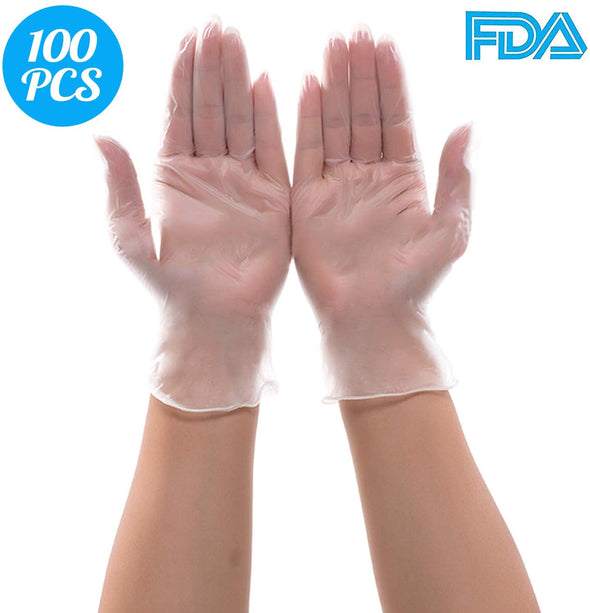 (100pcs) Disposable PVC Gloves, Safe-Touch Powder Free Food Grade Gloves, Natural Rubber Gloves (M)