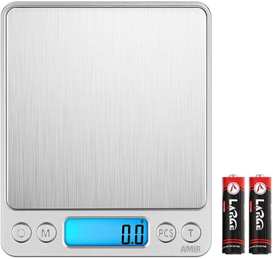 AMIR Digital Kitchen Scale 3000g 0.01oz/ 0.1g Pocket Cooking Scale Mini Food Scale Pro Electronic Jewelry Scale with Back-Lit LCD Display Tare & PCS Functions Stainless Steel Batteries Included