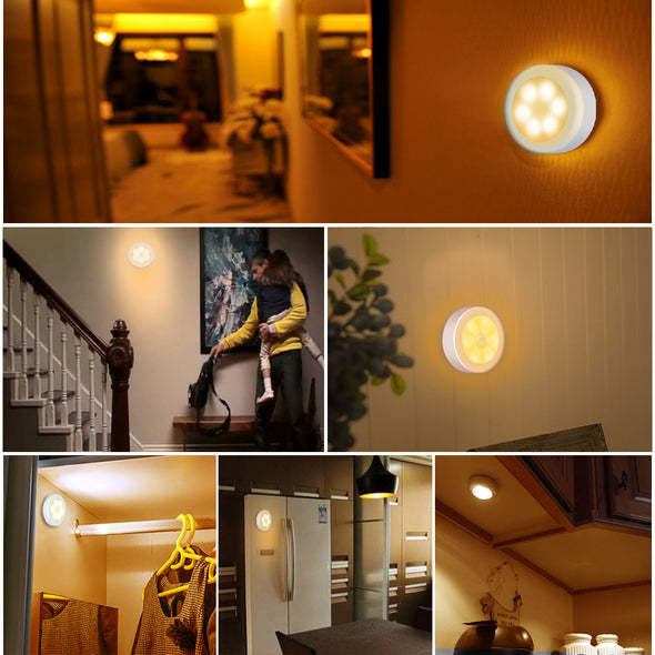 AMIR night light with motion detector, motion light with battery, auto ON / off night light, LED sensor light, cabinet lights, LED motion detector for hallway, bedroom, (warm white)
