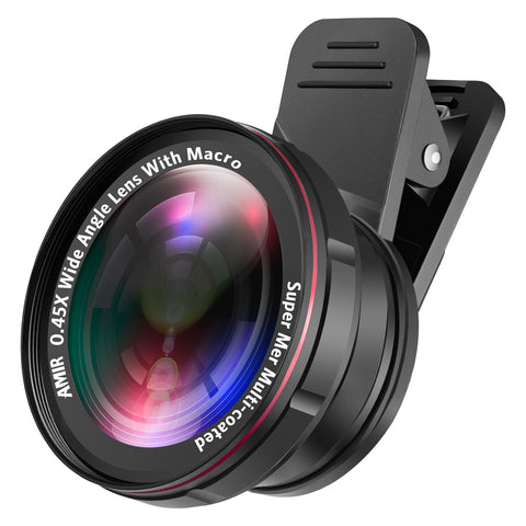 AMIR 0.45X Wide Angle Lens + 15X Macro Lens for iPhone 2 IN 1 Clip-On Cell Phone Camera Lens