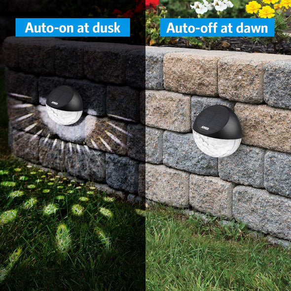 Solar Fence Lights Outdoor, 4 Pack 22LM Deck Lights | AMIR