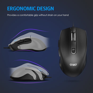 Wired Optical Mouse, Backlit USB Computer Mouse