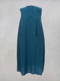 Sleeveless Dress with Front Pockets in Pavone