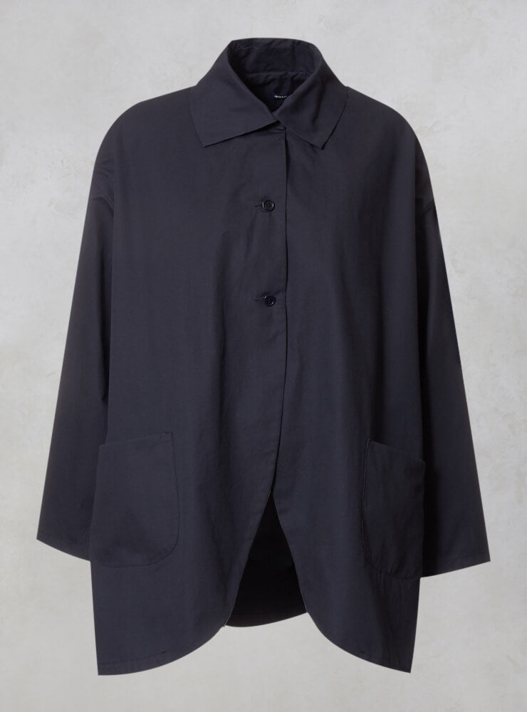 Over Coat with Front Pockets in Blu
