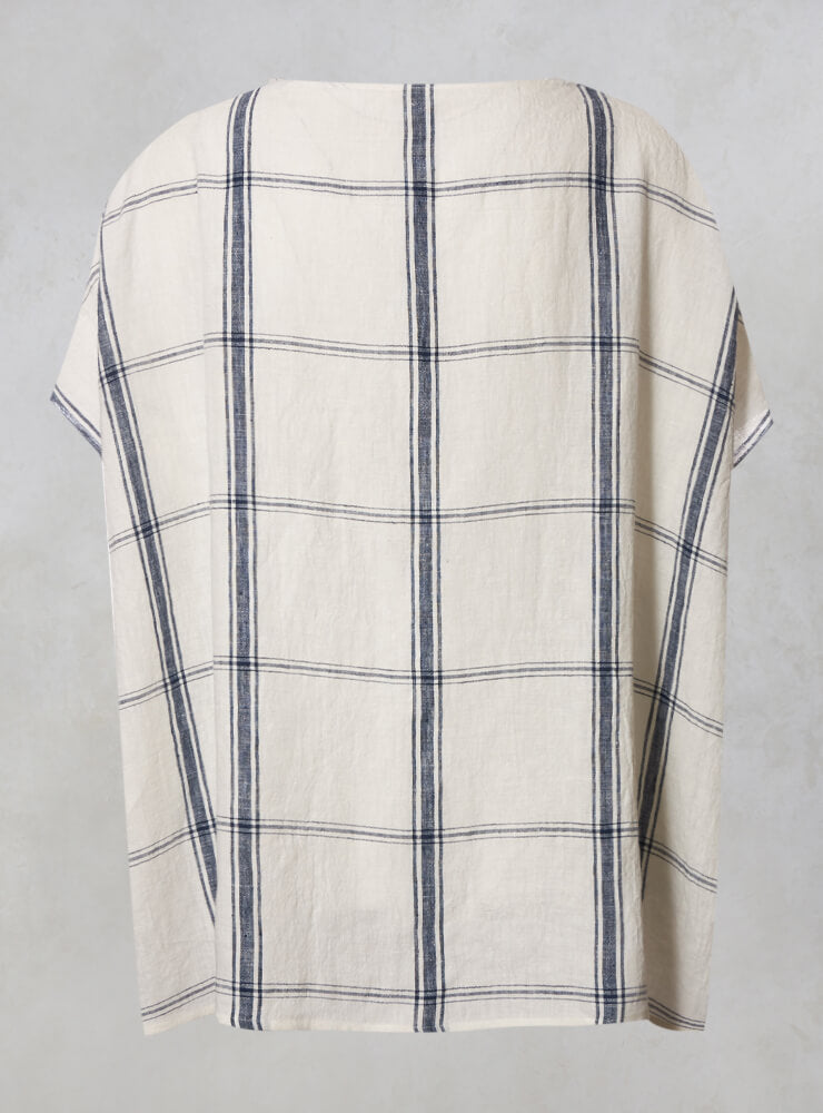 Linen Checked Top in Latte Blu