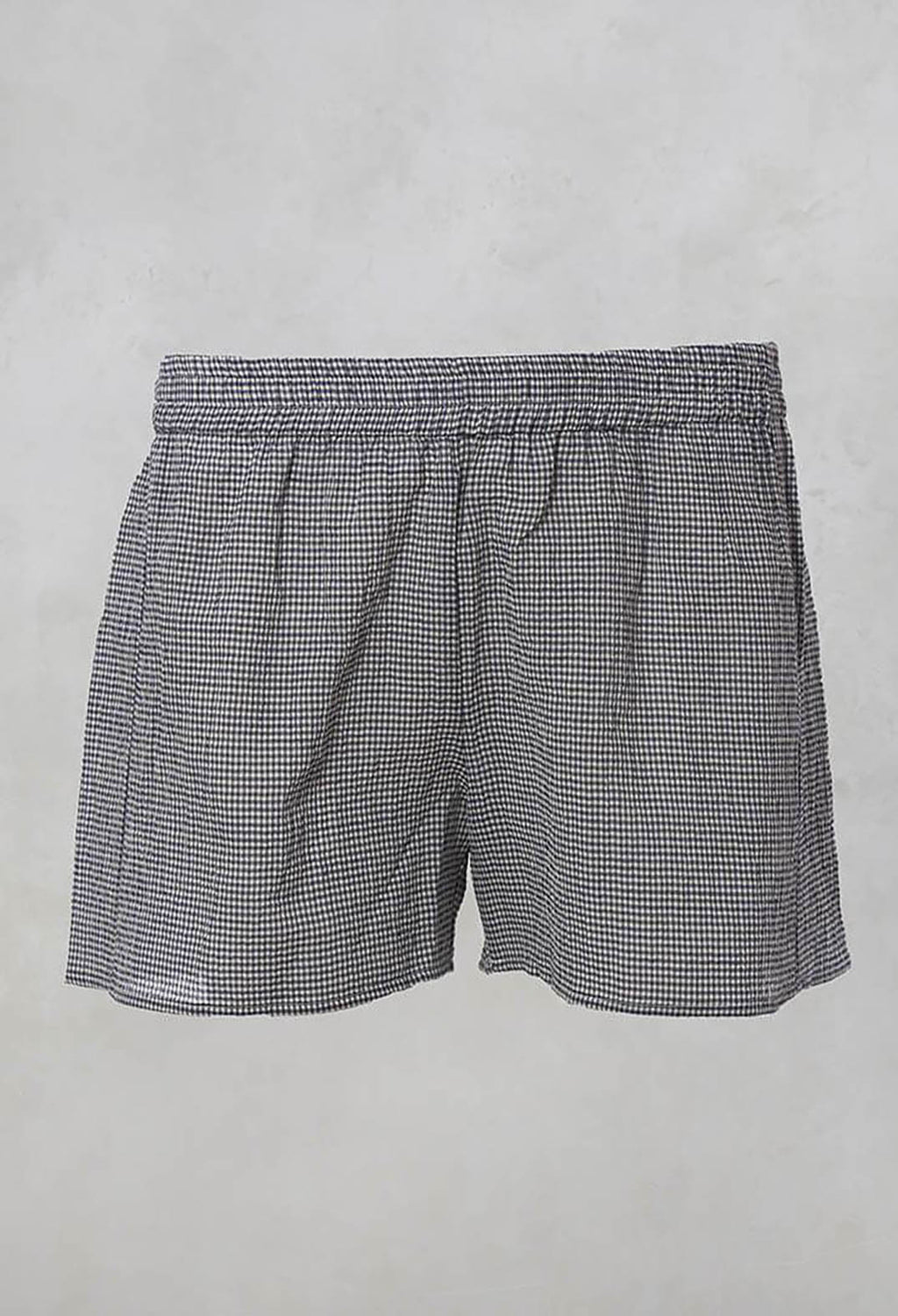 Checked Shorts with Elasticated Waistband in Latte Blu